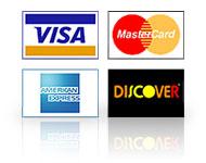 Visa, MaterCard, Discover, AmEx